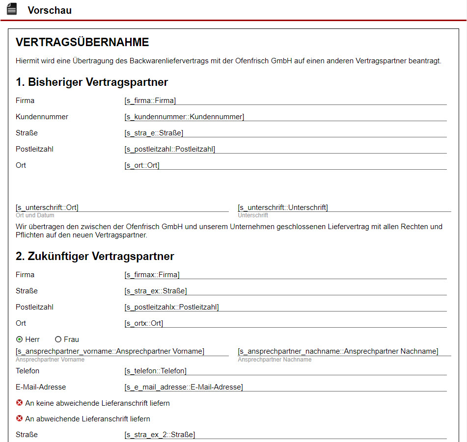 Screenshot Formularvorschau