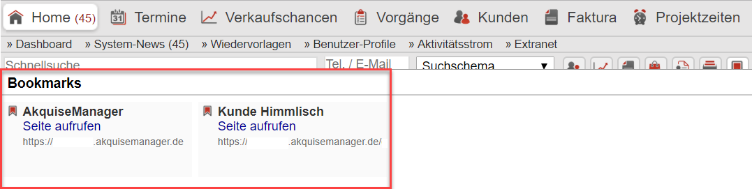 Screenshot: Anzeige der Bookmarks